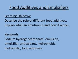 Food Additives and Emulsifiers
