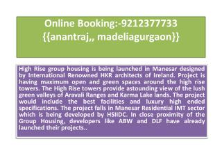 Online Booking:-9212377733 {{anantraj,, madeliagurgaon}}