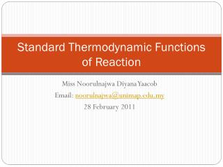Standard Thermodynamic Functions of Reaction