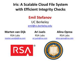 Iris: A Scalable Cloud File  System with  Efficient Integrity Checks