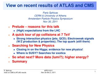 View on recent results of ATLAS and CMS