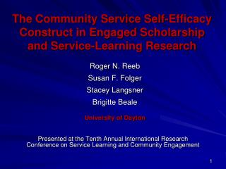 The Community Service Self-Efficacy Construct in Engaged Scholarship and Service-Learning Research