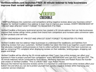 Verifiedcredible.com launches FREE 30 minute webinar to help