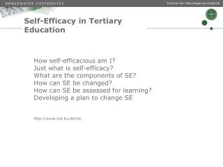 Self- Efficacy  in  Tertiary  Education