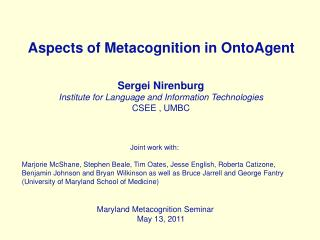 Aspects of Metacognition  in  OntoAgent