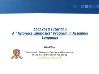"CSCI 2510 Tutorial 3 A ""Tutorial3_x86Basics"" Program in Assembly Language"