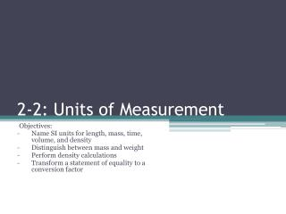 2-2: Units of Measurement