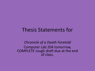 Thesis Statements for