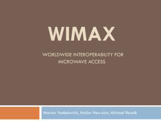 WiMAX Worldwide Interoperability for Microwave Access