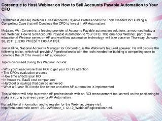 Corcentric to Host Webinar on How to Sell Accounts Payable A