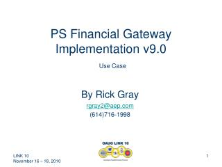 PS Financial Gateway Implementation v9.0 Use Case