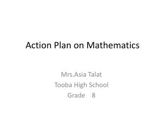 Action Plan on Mathematics