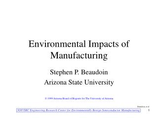 Environmental Impacts of Manufacturing