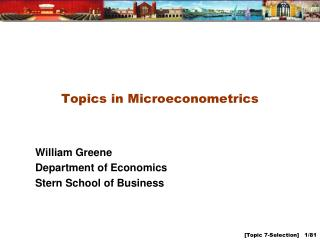 Topics in Microeconometrics