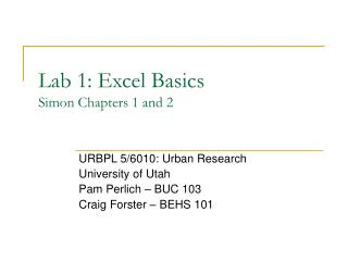 Lab 1: Excel Basics Simon Chapters 1 and 2