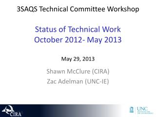 3SAQS Technical Committee  Workshop Status of Technical Work  October 2012- May 2013 May 29, 2013
