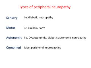 Types of peripheral neuropathy