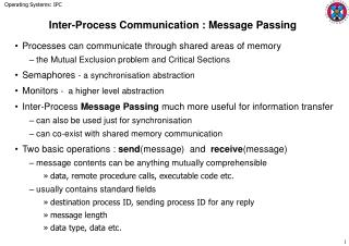 Inter-Process Communication : Message Passing