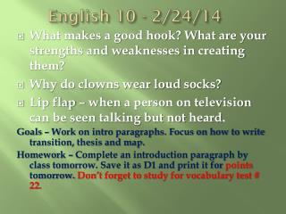 English 10 - 2/24/14