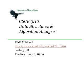 CSCE 3110 Data Structures  Algorithm Analysis