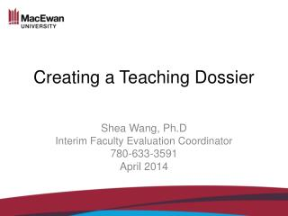 Creating a  Teaching Dossier
