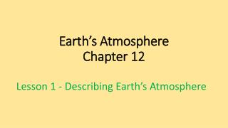 Earth's Atmosphere Chapter 12