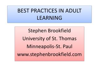 BEST PRACTICES IN ADULT LEARNING
