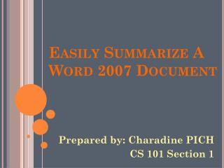 Easily Summarize A Word 2007 Document