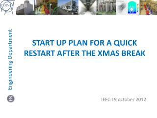 Start up plan for a quick restart  after  the XMAS BREAK