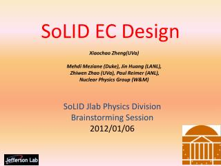 SoLID  EC Design