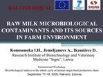 RAW MILK MICROBIOLOGICAL CONTAMINANTS AND ITS SOURCES IN FARM ENVIRONMENT