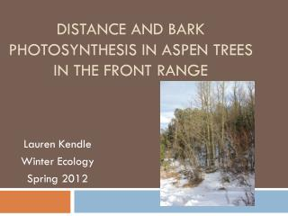 Distance and Bark Photosynthesis In Aspen Trees In The Front Range