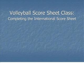 Volleyball Score Sheet Class: