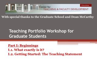 Teaching Portfolio Workshop for Graduate Students