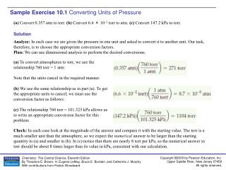 Sample Exercise 10.1 Converting Units of Pressure