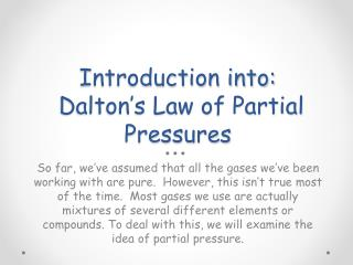 Introduction into: Dalton's Law of Partial Pressures