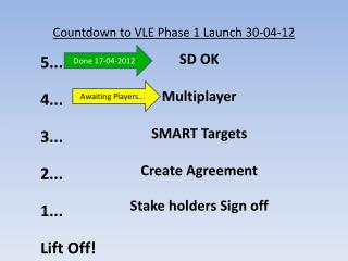 Countdown to VLE Phase 1 Launch  30-04-12