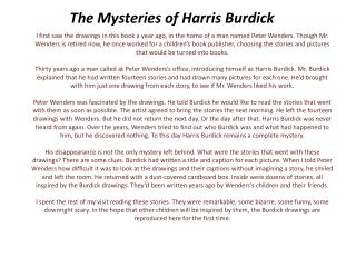 The Mysteries of Harris Burdick