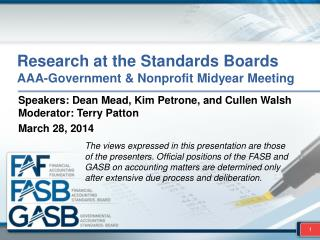 Research at the Standards Boards AAA-Government & Nonprofit Midyear Meeting