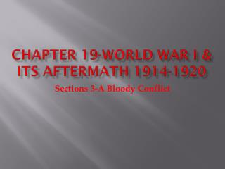 Chapter 19-World War I & Its Aftermath 1914-1920