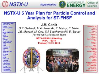 NSTX-U 5 Year Plan for Particle Control and Analysis for  ST-FNSF