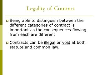 Legality of Contract