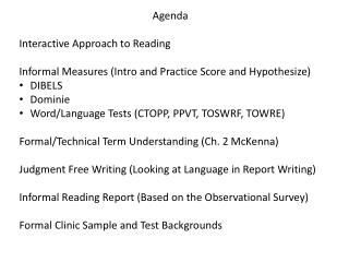 Agenda Interactive Approach to Reading