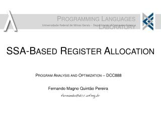 SSA-Based Register Allocation