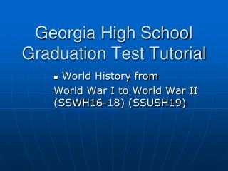 Georgia High School Graduation Test Tutorial