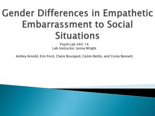 Gender Differences in Empathetic Embarrassment to Social Situations