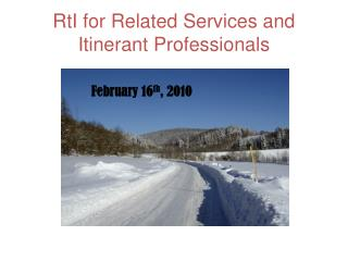 RtI  for Related Services and Itinerant Professionals