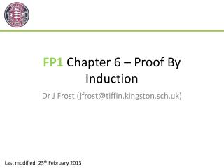 FP1  Chapter 6 – Proof By Induction