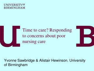 Time to care? Responding to concerns about poor nursing care