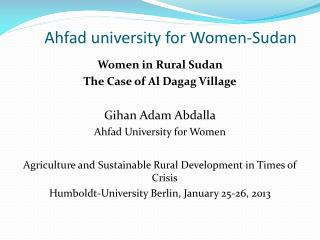 Ahfad  university for Women-Sudan